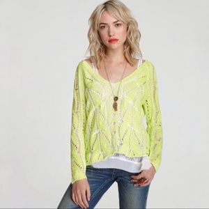 Free People Neon Yellow Cable Knit Sweater {B}